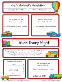 Custom Classroom Newsletter Printable   Sample Home DXNLlg5x