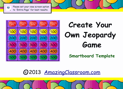 Jeopardy Game Template Smart Board