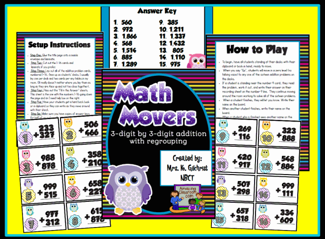 Math Movers 3-Digit Addtion Game