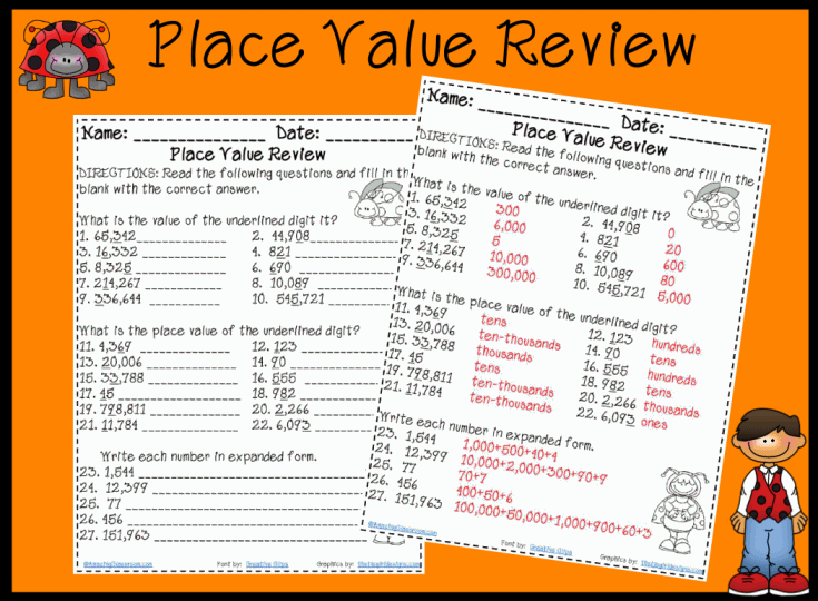 Free 5th Grade Math Worksheets Place Value Worksheets for Education – Free Printable Math Worksheets 2nd Grade Place Value