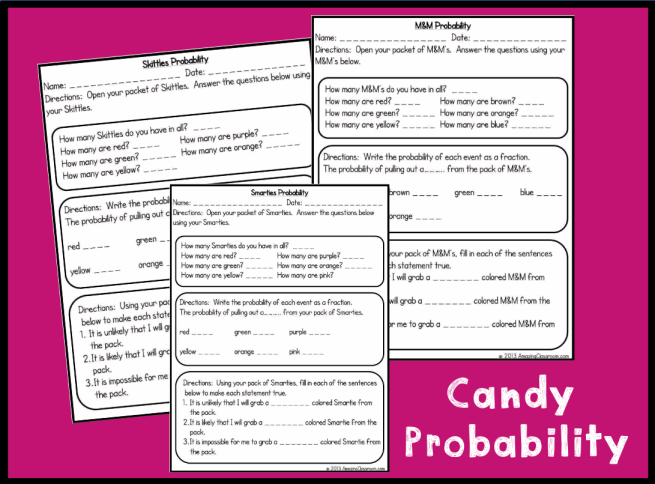 ... further Math Probability Worksheets. on candy probability worksheet