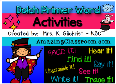 Dolch Primer Word Activities
