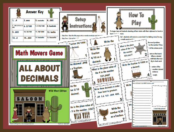 Math Movers Game All About Decimals