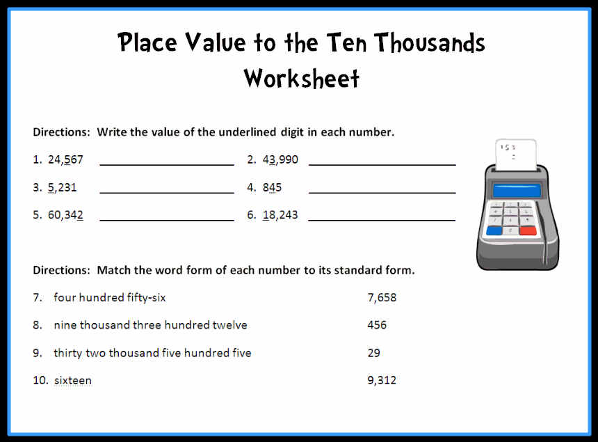 Place Value Worksheets Printable – Free Math Worksheets Place Value