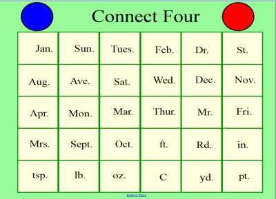 Connect Four Game - Abbreviations