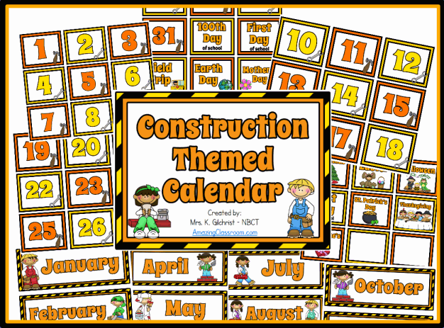 Construction Themed Calendar Set