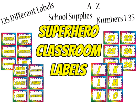 Superhero Rainbow Themed Labels