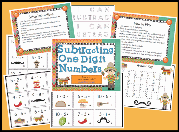 Subtracting One Digit Numbers Game