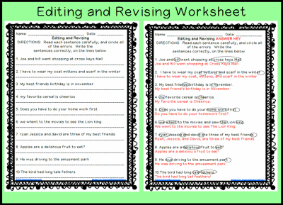 Editing and Revising Worksheet