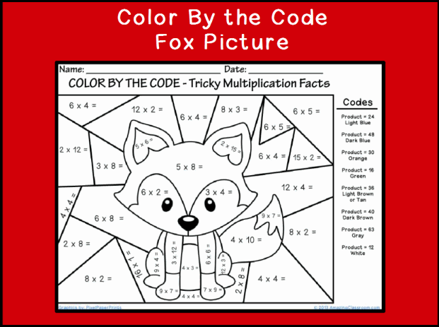 Color by the Code Multiplying Fox