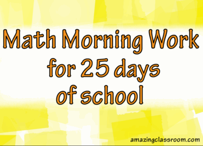 Math Morning Work Smartboard 25 Day