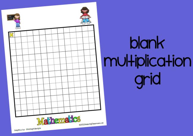 Blank Multiplication Grid Printable Mattawa