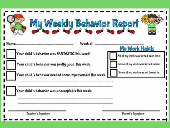 My Weekly Behavior Report Style # 1