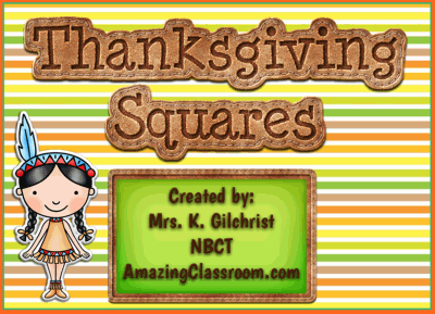 Thanksgiving Squares Game Template