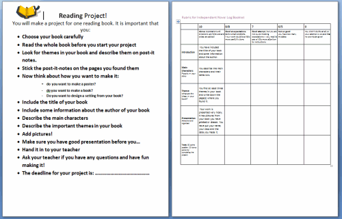 Independent Reading Project /Rubric