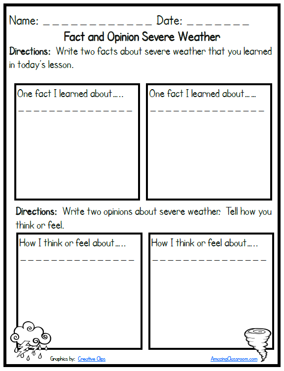 Severe Weather Fact and Opinion Printable Worksheet with Answer Key ...