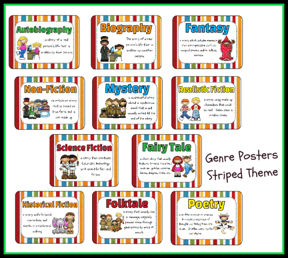 Genre Poster Set - Striped Theme Printable Worksheet with ...