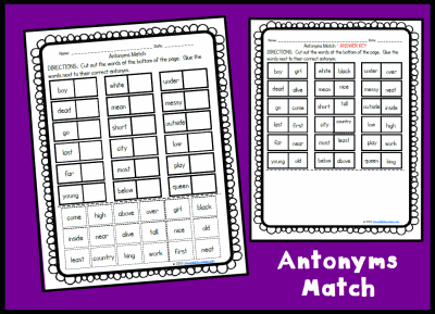 Antonyms Match Activity Page