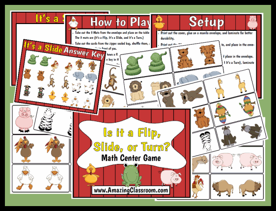 Flip, Slide, or Turn Math Center