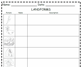 Landforms Graphic Organizer