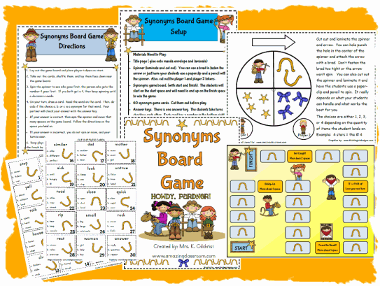 Synonyms Board Game Reading Center