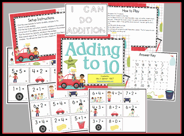 Adding to 10 Math Center Game