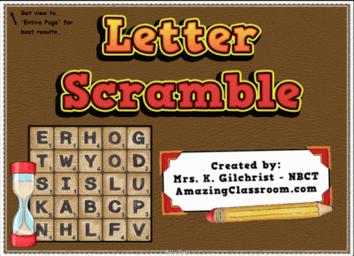 Letter Scramble Game For Smartboard