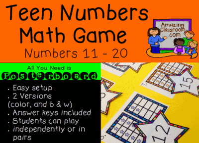 Teen Numbers Poster Board Game