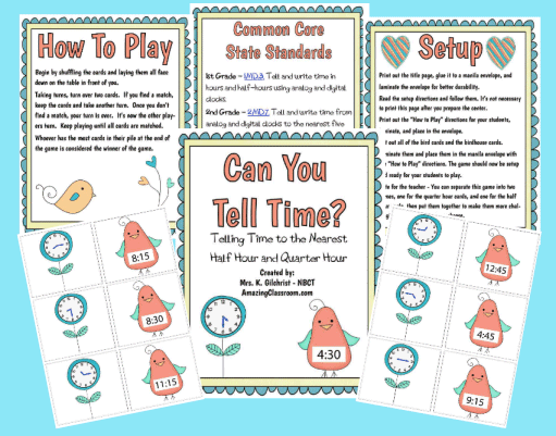 Can You Tell Time? Math Center