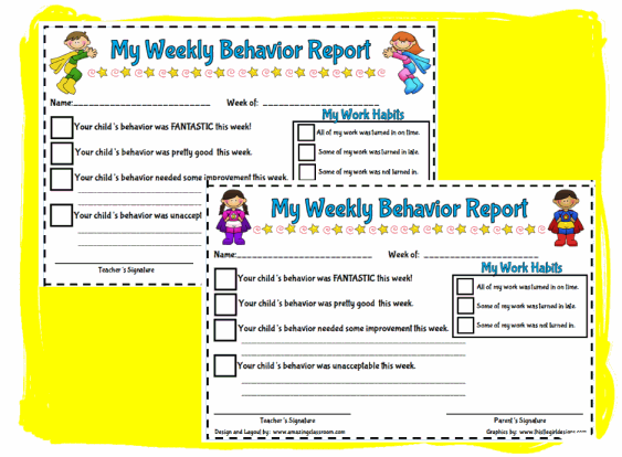 My Weekly Behavior Report Style # 2