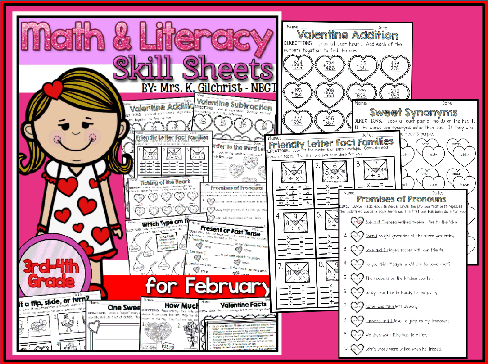 Math & Literacy Skill Sheets (Feb)