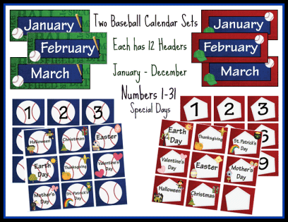 Baseball Themed Calendar Set