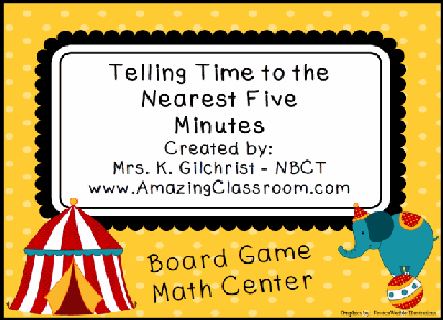 Telling Time Math Center Board Game