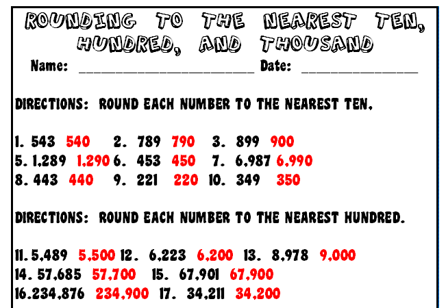 Rounding to tens hundreds thousands