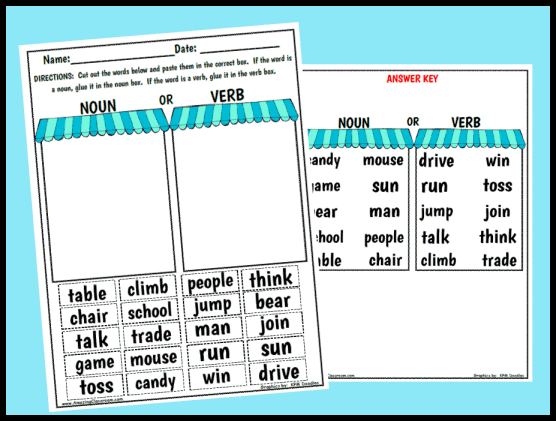 Noun or Verb Sorting Worksheet