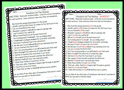 Homophone Meanings Worksheet