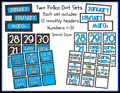 Polka Dot Themed Calendar Sets