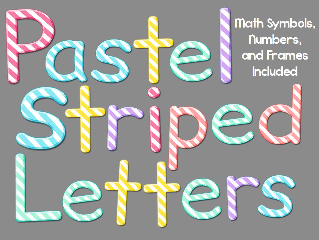 Pastel Striped Letters and Numbers