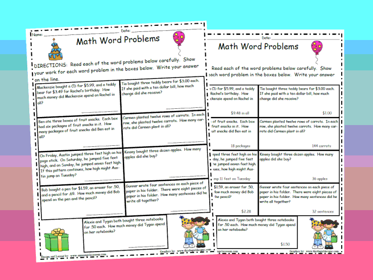 Math Worksheets Third Grade Word Problems The Best and Most – 5th Grade Math Worksheets Word Problems
